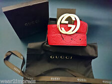 Authentic GUCCI Belt red guccissima leather with interlocking GG WAIST:34-36 NEW