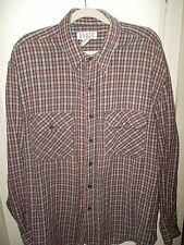 Badge XLarge Flannel Skateboard Plaid Long Sleeve Buttons Red Black Plaid Cotton
