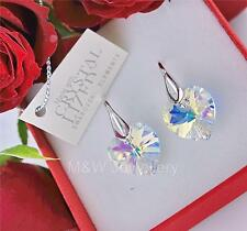 EARRINGS SWAROVSKI ELEMENTS HEART CRYSTAL AB 14mm STERLING SILVER 925