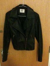 Vero Moda black PU leather biker jacket size S