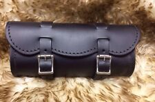 Small Black Leather Motorcycle Tool Bag Harley Indian Made in the USA