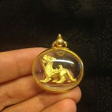 Mini Sing Sacred Lion Thai Amulet Pendant Luck Rich Wealth Success Protect