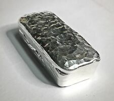 5 Troy Ounce Hand Poured Fine Silver Hammered Bar