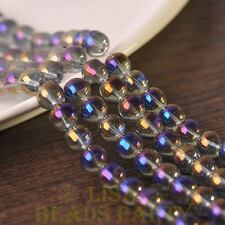 Hot 25pcs 8mm Electroplating Crystal Glass Round Loose Spacer Beads Purple