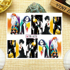 Nail Art Manicure Water Transfer Decal Sticker Fashion Girl YB675
