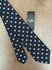 """PAUL SMITH """"THE BRITISH COLLECTION"""" NAVY BLUE SQUARE FLORAL DESIGN SILK TIE BNWT"""