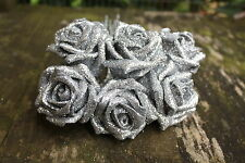 6 x SILVER GLITTER SPARKLE  COLOURFAST FOAM OPEN COTTAGE  ROSES 6cm