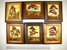 Hand Made Mosaic Baltic Amber Natural Wooden Pictures #126 LOT of 6pcs
