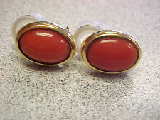 High Quality 18k Gold Pink Coral Earrings  Omega Backs with Posts   Make Offer