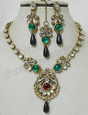 Designer Antique Gold Plated Kundan Stones Necklace Earring Tika Jewellery Set