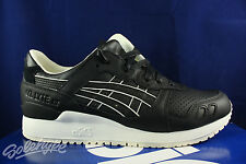 ASICS GEL LYTE III 3 BLACK WHITE GREY LEATHER H6S3L 9090 SZ 8.5