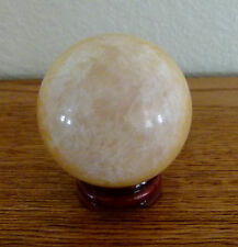 "2"" 52mm 8.3 oz. 235 gr. yellow calcite Sphere Polished  Crystal Stone Ball stand"