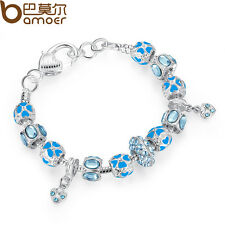 With Blue CZ Hearts Charms Silver Bracelets Luxury DIY European For Christmas