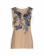 ALBERTA FERRETTI NUDE TULLE FLORAL LACE TOP BLOUSE I40/UK8/US4