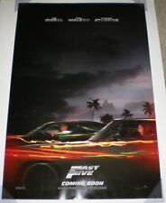 FAST FIVE MOVIE POSTER 2 Sided ORIGINAL Advance INTL 27x40 VIN DIESEL