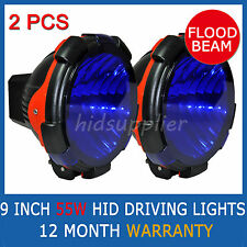 "2 PCS 9"" 55W HID XENON DRIVING LIGHTS SPOTLIGHTS POWERFUL FLOOD BEAM BLUE COVER"
