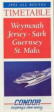 1993 Condor Ferry Timetable CHANNEL ISLANDS Jersey Sark Guernsey Saint Malo