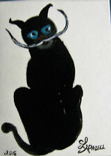 "ORIGINAL ACRYLIC ACEO PAINTING BY LJH  - ""DALI CAT"" A270"