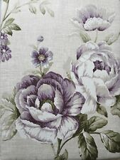 "90 x 90"" 100% Cotton Lined Purple Flowers 6"" Pencil Pleat Curtains Floral Plum"