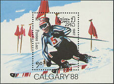 LAOS Bloc N°92** BF jeux olympiques  Calgary 1988, 1987, olympic games Sc#765 NH