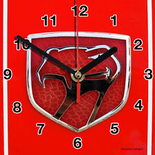 HORLOGE MURALE Logo CHRYSLER SUR TOLE ROUGE-01M