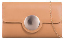 Metal Button Detail Clutch Bag Womens Designer Evening Handbag Shoulder Chain
