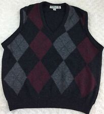 LL Bean Men's Made In Ireland 100% Lambs Wool Argyle Sweater Vest L Large