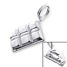 925 Sterling Silver 3D Chocolate Bar Food Funky Bracelet Charm Pendant Gift Box