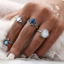 ETHNIC BOHO FESTIVAL BEACH SET 4 SILVER TONE KNUCKLE RINGS ASSORTED UK SELLER