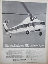 6/1971 PUB SIKORSKY AIRCRAFT HELICOPTERE S-58T HELICOPTER ORIGINAL AD