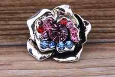 NEW Colors Rhinestone flower Charm Chunk Snap Button fit for Noosa Bracelet AE03