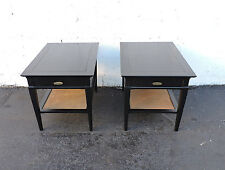Pair of Mid-Century Painted Black Side Tables nightstands by Hammary 7445