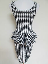 Auth Betsey Johnson Collection Houndstooth Textured Peplum Shift Dress Sz S