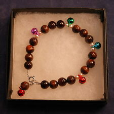 """Beautiful Bracelet With Red Tiger Eye Gems And Silver Color Balls  7"""".5 Inc.Long"""