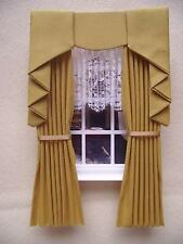 MINIATURE DOLLS HOUSE 12TH SCALE CURTAINS MUSTARD SWAG EFFECT 7 1/2 LONG