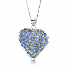 Heart Pendant Forget Me Not Real Flower Jewellery 925 Silver