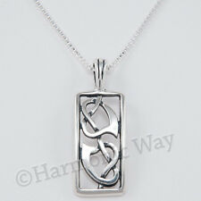 "TWO CELTIC HEARTS Intertwined Knot Love Pendant 18"" Necklace 925 Sterling Silver"