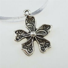 12802 15PCS Alloy Antique Silver Tone Plants Flower Pendant Charm