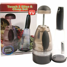 TOUCH 2 SLICE AND CHOP SET EASY USE DISHWASHER SAFE FRUIT SALAD VEGETABLE ONION