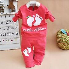 Toddler Kids Baby Girls Long Sleeve Outfits T-shirt Tops +Pants Clothes Set
