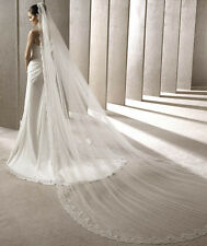 2016 New White/Ivory Cathedral Length Lace Edge Wedding Veil 3 Meters Long