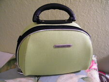 LUCA VERGANI MAKE UP CASE..HARD CASE W/ LIME FABRIC 2 MAJOR COMPARTMENTS