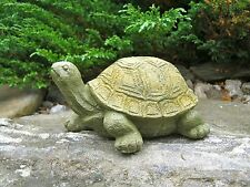 Turtle Stretching Statue, Painted Concrete Garden Figure, Cement Tortoise