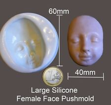 Large Silicone Female face push mold for fimo sculpey polymer clay