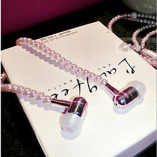 Pearl String Pink Headset Jewellery Earphone Head Phone for iphone