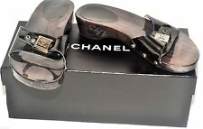 AUTHENTIC CHANEL BLACK PATENT LEATHER & WOOD SANDALS SLIDES UK 4 / EURO 37 USED