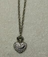 Authentic Juicy Couture Silver Tone Crown Heart Crystal Pave Pendant Necklace