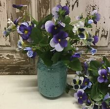 Pansies In A Jar Artificial Flower Arrangement Gisela Graham Country Vintage