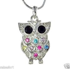 Wise Wisdom Smart Owl Multi Color W Swarovski Crystal New Pendant Necklace Gift