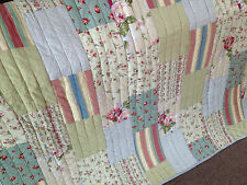 Spring Morning Shabby Chic Floral Quilted Patchwork Cotton Throw Rug